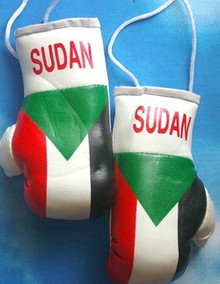 Sudan Mini boxing gloves, Mascot for your car,
